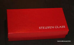 Steuben Candy Cane Pair New In Box Glass Red And White Airtwist Ornaments Xmas