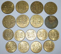 Kenya Coins Collection. 9 X 5 Cents 1971, 1984, 1990, 1991. 8 X 10 Cents 1966