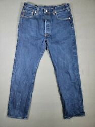 Men's Levi Strauss 501 Button Fly Denim Blue Jeans Size 35x34 Now 32x30 Washed
