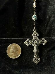 Impressive Faceted Glass And Sterling Vintage Catholic Rosary Special Very Rare