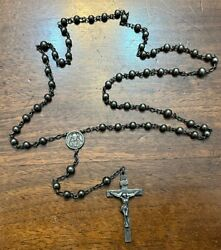 Vintage Sterling Silver Catholic Rosary Bead Necklace