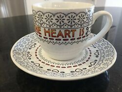 Mary Engelbreit Home Is Where The Heart Is Teacup And Saucer Excellent Condition