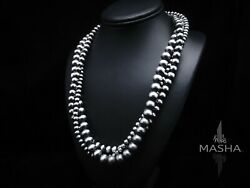 Native American 6/8/10mm Sterling Silver Navajo Pearls 22 Multistrand Necklace
