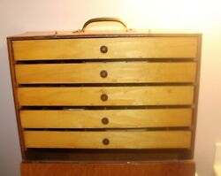 Vintage Wooden Tackle Box -16.5 X 15.5 X 5.75
