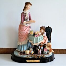 Gentili Collection Figurine Mother And Daughter Birthday Party Girl Wood Base