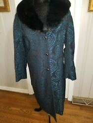 Dennis Basso full length Tapestry coat with removable faux fur collar XL