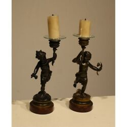 Antique 19th France Pair Of Angel Bronze Candlesticks Signed C. Anfrie 25cm