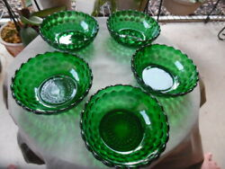 """Set Of 5 Anchor Hocking Depression Glass Bubble Forest Green 5.25"""" Cereal Bowls"""