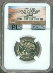 2014-s Great Sand And Dunes National Parks Quarter Ngc Ms68 Mac Pl Fr Quality ✔️