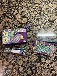 Vera Bradley#x27;s ALL IN ONE CROSSBODY for PHONE in Purple FLORAL Purse Bag $29.95