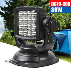 Led Search Light Remote Control Magnetic Base 80w 360 Degree Spot Lamp Car Boat