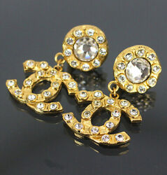 Vintage Cc Mark And Rhinestone Gold-toned Clip-on Earrings 55023