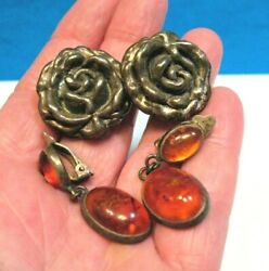Vintage Sterling Silver Earring Lot Of 2 Clip On Amber 22.5 Grams