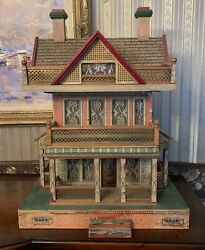 Large Antique R. Bliss Seaside Victorian Wood Dollhouse Lithograph Doll House