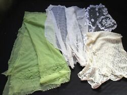 Lot Antique And Vintage Lace Silk Embroidered Net Lace Silk Chantilly Scarf