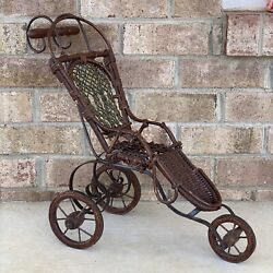 Primitive Antique Vintage Wicker Woven Baby Doll Carriage Stroller Wooden Wheels