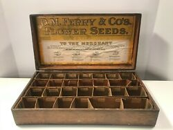 Antique Dm Ferry And Co Flower Seeds Oak Advertising Wooden Box