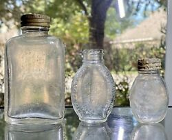 Lot Of 3 Vintage Embossed Pill Bottles Original Caps 2 And 1 Tabloid