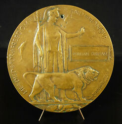 Medal To William Fulhm Falling Soldier Ww1 C1920 4 11/16in United Kingdom Uk