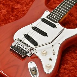 Moon St-249b Trans Red/e Fr Electric Guitar W/soft Case Safe Delivery From Japan