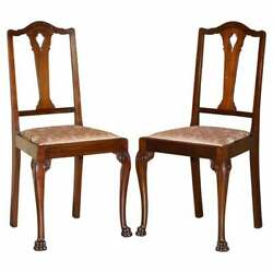 Pair Of Antique Honduras Mahogany English Hand Carved Lion Hairy Paw Feet Chairs