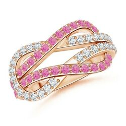 Encrusted Pink Sapphire And Diamond Infinity Knot Ring In Gold/platinum