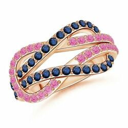 Encrusted Pink And Blue Sapphire Infinity Knot Ring In Gold/platinum Size 3-13