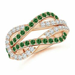 Encrusted Tsavorite And Diamond Infinity Knot Ring In Gold/platinum Size 3-13