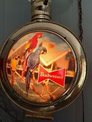 Vintage Budweiser Rotating Large Pocket Watch Lightes And Rotates