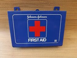 Vintage Wall Mount Johnson And Johnson 8161 First Aid Kit Blue Metal Box Supplies
