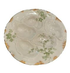 6 Antique Haviland And Co Limoges Oyster Plates With Gold Trim