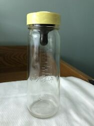 Vintage Baby Bottle Hygeia By Ball Glass Antique Screw Lid Nipple 8 Oz. Yellow