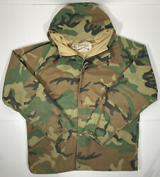 Cabelaand039s Vintage Usa Gore-tex Woodland Camo Hooded Parka Jacket Menandrsquos L Hunting