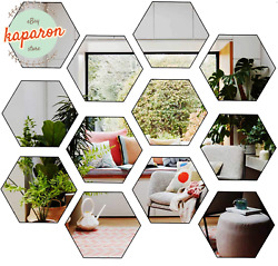Hexagon Wall Decals Mirror Wall Stickers Large Removable Acrylic Self Adhesive