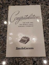Smith Corona Typewriter User Manual For 1950s Silent Super, Sterling Or Clipper