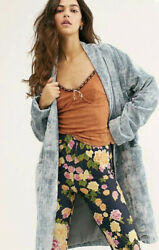 Free People Hearts Desire Velvet Quilted Duster Coat Longline Lined Blue S Nwt