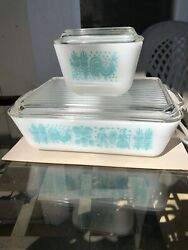 Vintage Pyrex Refrigerator Dishes Amish Butterprint Blue 501 And 503 With Lids