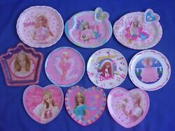 Barbie Heavy Plastic Plates Dishes For Child Kids Lot Of 10