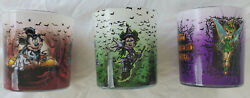 3 Disney Halloween Glass Votive Battery Candle Holders Mickey Minnie Tinker Bell