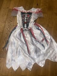 Halloween Costume Age 9-10 Witch Zombie White Red And Black