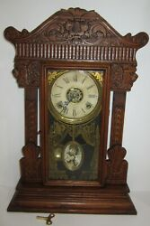 Antique Gilbert Pressed Oak Kitchen Clock With Alarm 8-day Time/strike