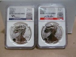 2021-ws 1 Silver Eagle Reverse Proof 2-coin Desiger Edition Set