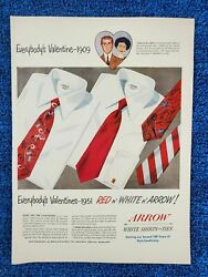 1951 Vintage Print Ad Advertising Arrow White Shirts And Ties D8-e