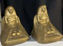 Antique Vintage 1920s A C Art Craft Products Gold Tone Metal Egyptian Bookends