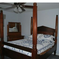 Antique Pre-civil War Handcrafted Four Poster Walnut And Mahogany Bed