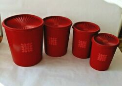 Vintage Red Tupperware 4 Canister Set 8 And Smaller With Servalier Lids Quilted