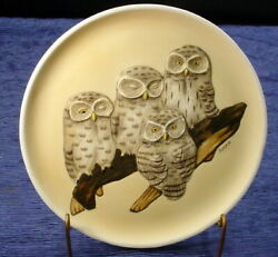 Vintage 3d Baby Saw-whet Owls Plate Collectors Ltd Edition Fred Aman Enesco 1979