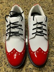 New In Box G/fore Ladies Brogue Gallivanter Golf Shoe Size 6.5 In Scarlet/white