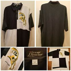Rare Inner Harbor Green Bay Packers Nfl Polo Shirt Size 2xl 90s Colorblock