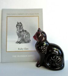 Vintage Franklin Mint Curio Cabinet Collection Red Cat Figurine RUBY GLASS